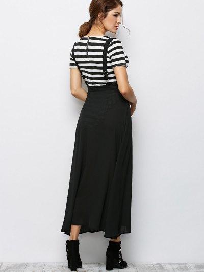 Button Front Maxi Braces Skirt - BLACK 2XL Mobile