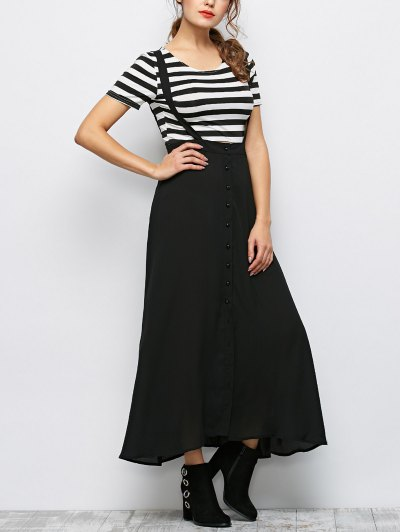 Button Front Maxi Braces Skirt - BLACK XL Mobile