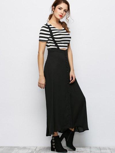 Button Front Maxi Braces Skirt - BLACK L Mobile