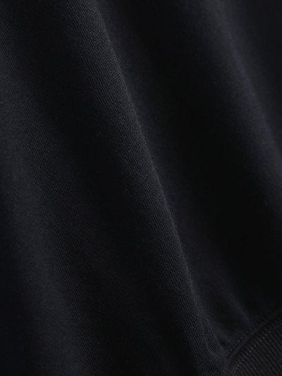 Contrast Letter Pullover Sweatshirt - BLACK M Mobile
