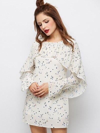 Flounce Ruffles Tiny Floral Mini Dress - PALOMINO XL Mobile