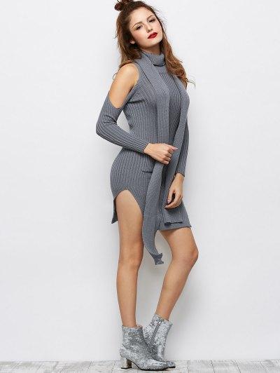 Slit Cold Shoulder Sweater Dress - GRAY XL Mobile