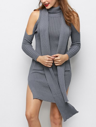 Slit Cold Shoulder Sweater Dress - GRAY L Mobile