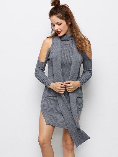 Slit Cold Shoulder Sweater Dress - GRAY M Mobile