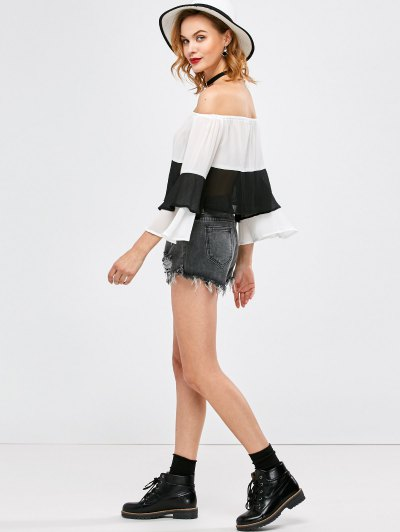 Bell Sleeve Off Shoulder Color Block Blouse - WHITE AND BLACK XL Mobile