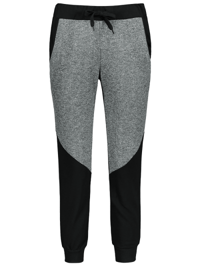 Color Block Heathered Sporty Pants - BLACK 2XL Mobile