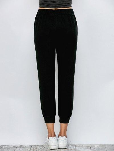 Color Block Heathered Sporty Pants - BLACK L Mobile