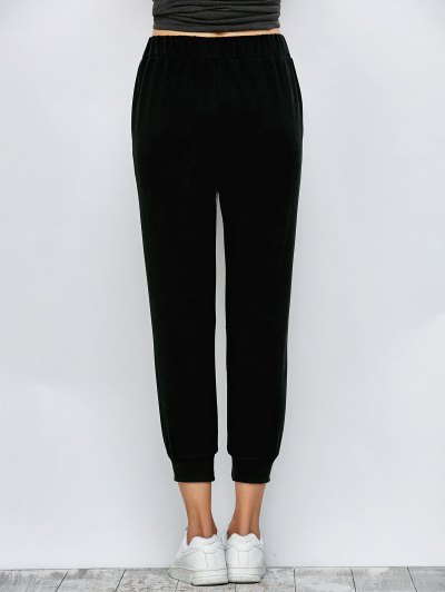 Color Block Heathered Sporty Pants - BLACK S Mobile