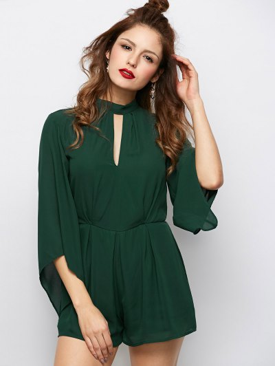 Cut Out Stand Neck Tied Romper - ARMY GREEN L Mobile