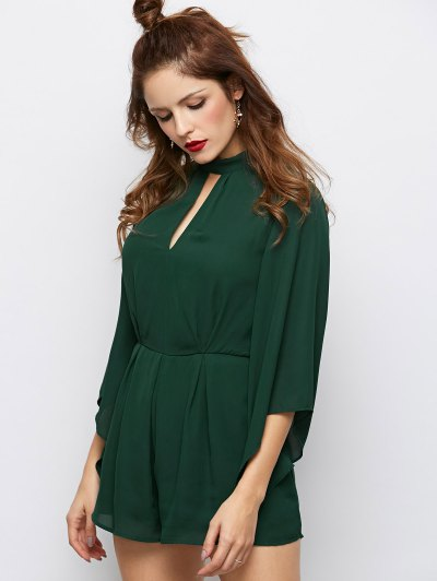 Cut Out Stand Neck Tied Romper - ARMY GREEN M Mobile