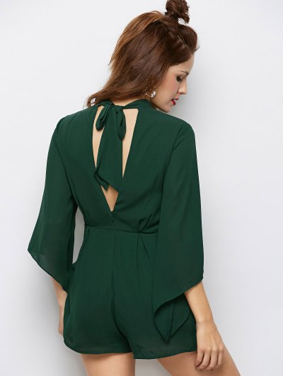 Cut Out Stand Neck Tied Romper - ARMY GREEN S Mobile