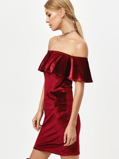 Velvet Crepe Bardot Bodycon Mini Dress - BURGUNDY L Mobile
