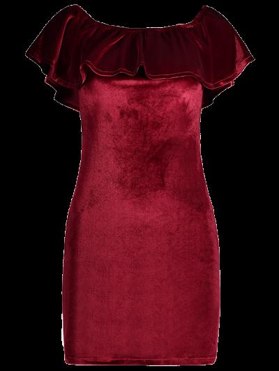 Velvet Crepe Bardot Bodycon Mini Dress - BURGUNDY M Mobile