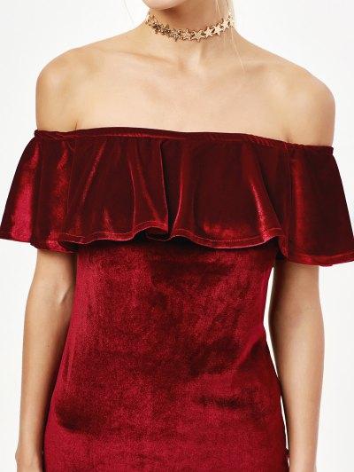 Velvet Crepe Bardot Bodycon Mini Dress - BURGUNDY S Mobile
