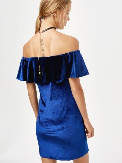 Velvet Crepe Bardot Bodycon Mini Dress - ROYAL L Mobile