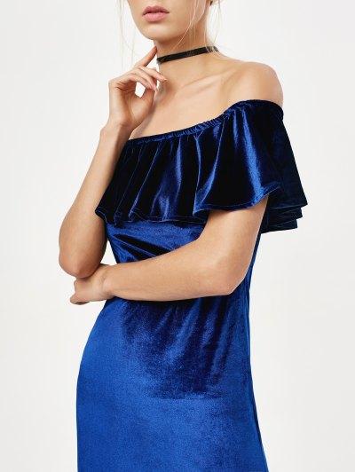 Velvet Crepe Bardot Bodycon Mini Dress - ROYAL M Mobile