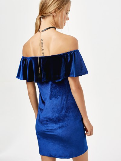 Velvet Crepe Bardot Bodycon Mini Dress - ROYAL S Mobile