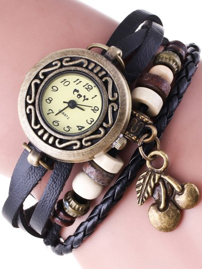 Braided Strand Bracelet Watch - BLACK  Mobile