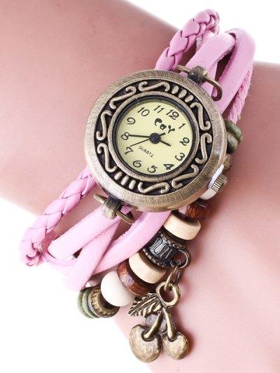Braided Strand Bracelet Watch - PINK  Mobile