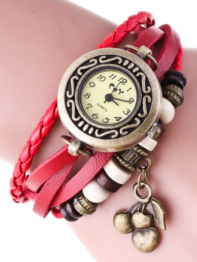 Braided Strand Bracelet Watch - RED  Mobile
