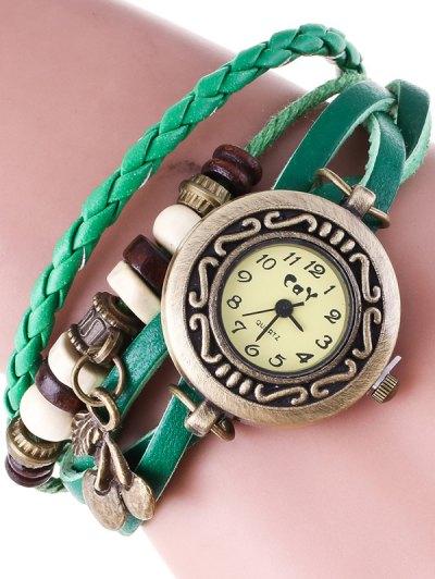 Braided Strand Bracelet Watch - GREEN  Mobile