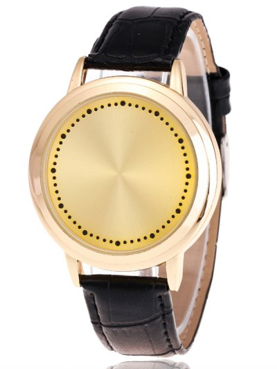 Faux Leather LED Watch - GOLDEN  Mobile