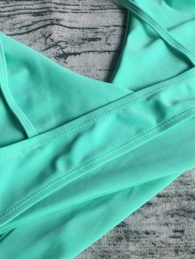 Wrap Tie Crossover Cami Bikini - LIGHT GREEN XL Mobile