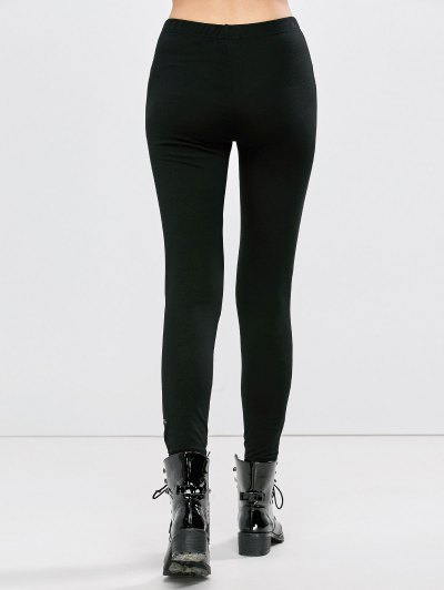 Distressed Footless Leggings - BLACK L Mobile