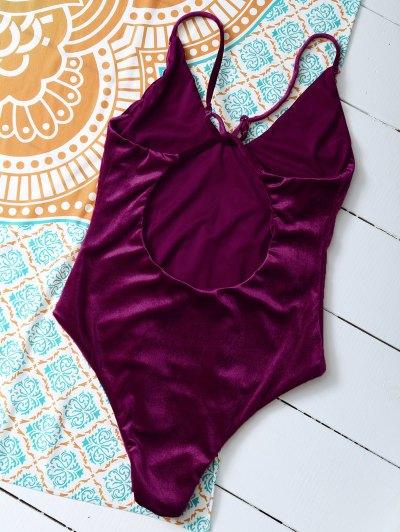 Reversible Cross Back Pleuche Swimwear - PURPLISH RED M Mobile