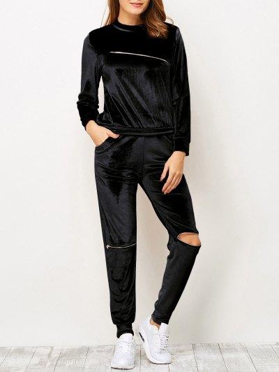 Zippers Velvet T-Shirt and Sports Pencil Pants - BLACK S Mobile