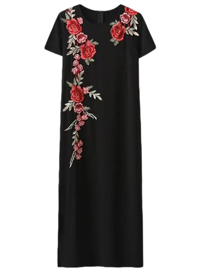 Side Slit Floral Embroidered Dress - BLACK M Mobile