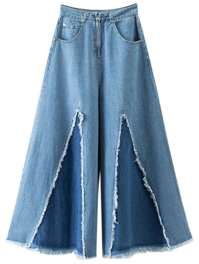 High Rise Frayed Culotte Jeans - DENIM BLUE M Mobile