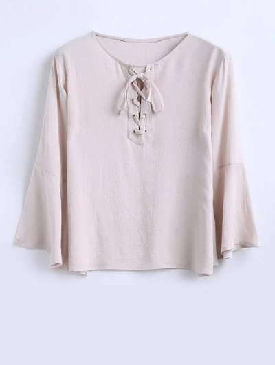 Flowy Lace Up Bell Sleeve Blouse - Pink Smoke