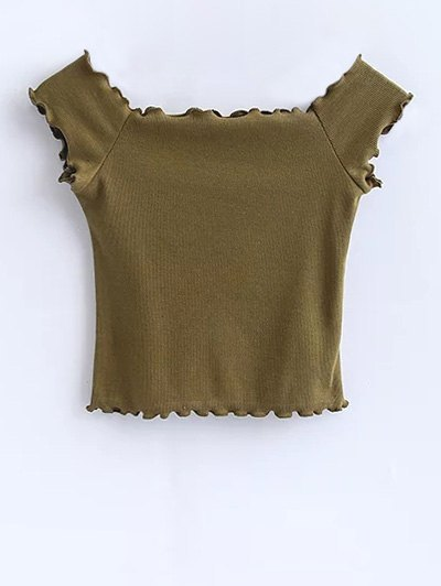 Off Shoulder Ruffles Crop Top - ARMY GREEN M Mobile