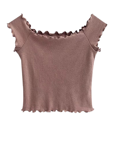 Off Shoulder Ruffles Crop Top - PALE PINKISH GREY S Mobile