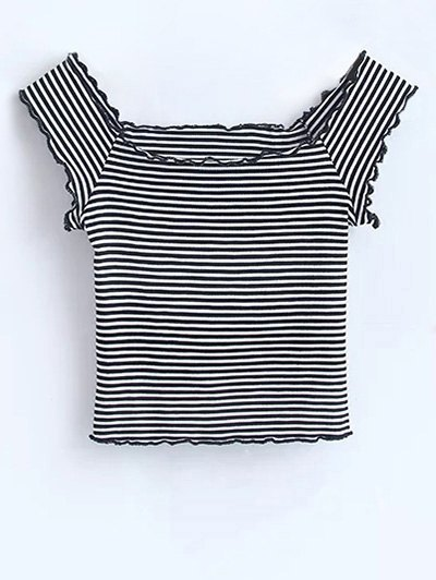 Off Shoulder Ruffles Striped Crop Top - Stripe
