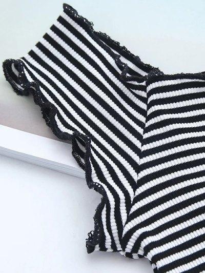 Off Shoulder Ruffles Striped Crop Top - STRIPE M Mobile