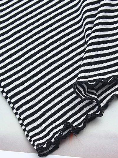 Off Shoulder Ruffles Striped Crop Top - STRIPE S Mobile