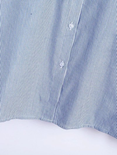 Flare Sleeve Embroidered Striped Shirt - STRIPE S Mobile