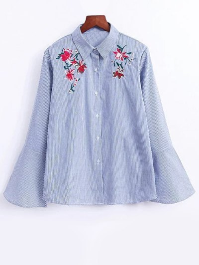 Flare Sleeve Embroidered Striped Shirt - STRIPE L Mobile