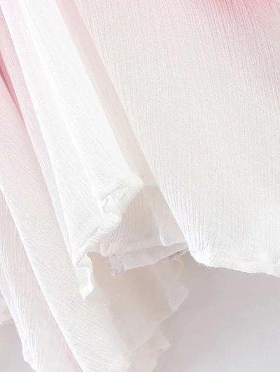Ombre Trapeze Slip Dress - RED L Mobile