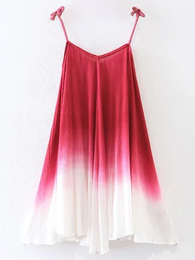 Ombre Trapeze Slip Dress - RED M Mobile
