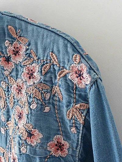 Palm Blossom Embroidered Plus Size Denim Shirt - DENIM BLUE 3XL Mobile