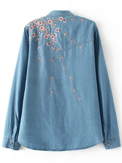 Palm Blossom Embroidered Plus Size Denim Shirt - DENIM BLUE XL Mobile