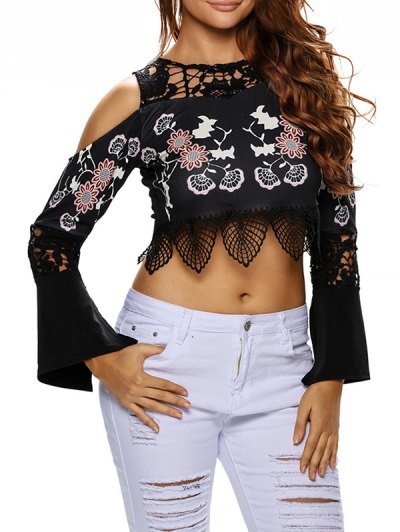 Printed Cold Shoulder Flare Sleeve Cropped Top