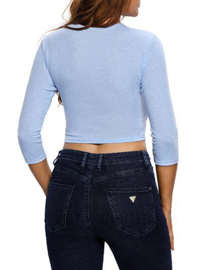 Lace Up Hollow Out Cropped Top - LIGHT BLUE L Mobile