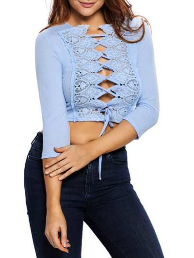 Lace Up Hollow Out Cropped Top - LIGHT BLUE S Mobile