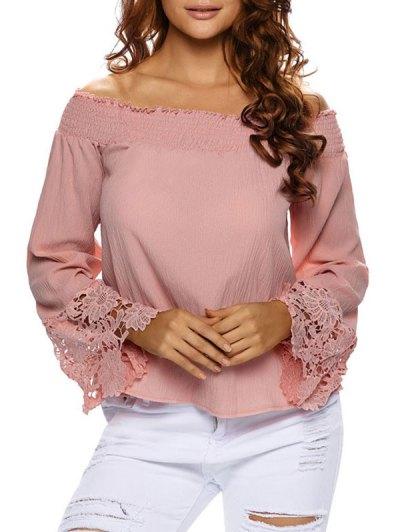 Lace Cuff Off The Shoulder Blouse - PAPAYA L Mobile
