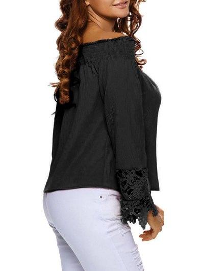 Lace Cuff Off The Shoulder Blouse - BLACK L Mobile