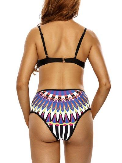 Totem Print Plunge Neck Bikini Set - MULTICOLOR M Mobile